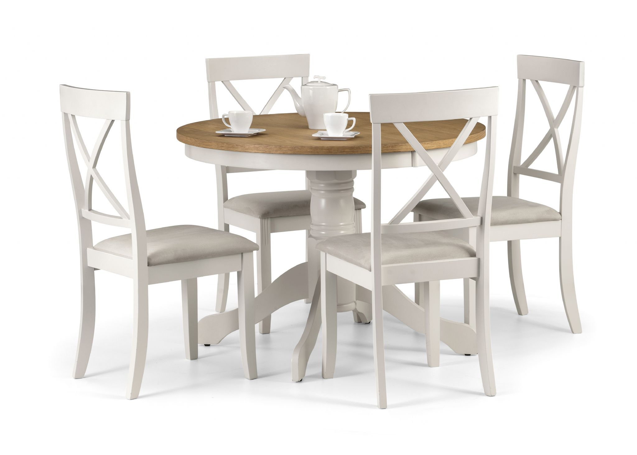 Oiled Oak And Ivory Pedestal Dining Table JB187